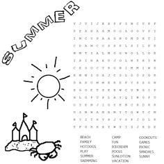 printable coloring word search page summer fun activity print this out for your kids - Fun Printable Activities