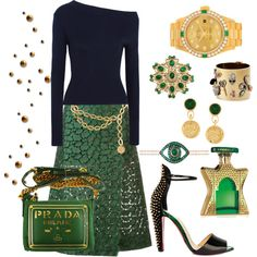 How To Wear Navy Green & Gold Outfit Idea 2017 - Fashion Trends Ready To Wear For Plus Size, Curvy Women Over 20, 30, 40, 50