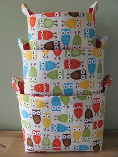NEW Fabric Organizer Basket Storage Container Bin - Set of 3 - Robert Kaufman Urban Zoologie Owls in Bermuda. $40.00, via Etsy.