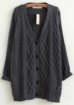I could use this right now! Warm and Cozy Grey Geometric Single Breasted V-neck Long Acrylic Cardigan #warm #winter #fashion