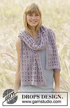 "Crochet DROPS scarf with lace pattern in ""Baby Merino"""