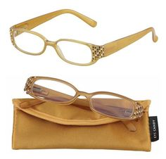 """Looking for the perfect reading glasses for fall? Our Sable Readers boast tan frames with chocolate, topaz and clear rhinestones for the perfect balance of """"bling"""" and sophistication! #EyeCandy http://www.ihearteyewear.com/products/sable"""