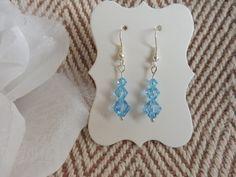 Blue Swarovski Bicone bead Earrings. Something blue earrings. Blue Swarovski earrings. Something blue earrings for the Bride. Earrings by HazelsWeddingShop on Etsy