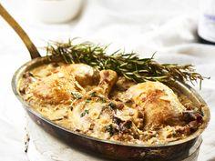 Egyszerre isteni és látványos: francia gombás csirke | Nők Lapja Hummus, Bacon, Ethnic Recipes, Food, France, Essen, Yemek, Pork Belly, Meals