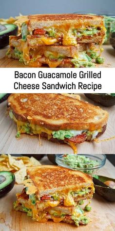 lunch recipes A buttery and toasty grilled cheese sandwich stuffed with cool and creamy guacamole, crispy bacon and melted jack and cheddar cheese. The crunchy crumbled tortilla chips in this grilled cheese pay Lunch Recipes, Breakfast Recipes, Cooking Recipes, Healthy Recipes, Breakfast Ideas, Cooking Pork, Avocado Recipes, Delicious Recipes, Grill Cheese Sandwich Recipes
