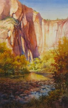 Solace at Sinawava , Painting of Virgin River zion National Park - Watercolor Paintings by Roland Lee
