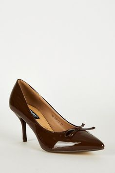 Pointed Toe Panel Court Shoes In Brown