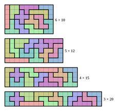 Pentominoes tiled in various ways