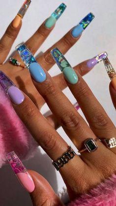 Bling Acrylic Nails, Summer Acrylic Nails, Best Acrylic Nails, Acrylic Nail Designs, Coffin Nails, Summer Nails, Gel Nails, Painted Acrylic Nails, Spring Nails