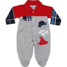 Macacão Longo Xadrez para Bebê Menino Cinza - Travessus :: 764 Kids | Roupa bebê e infantil