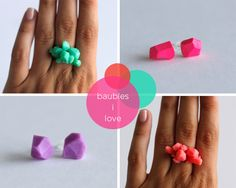 handmade geometric ring and studs ::would be really cool in ceramic. im thinking porcelain.