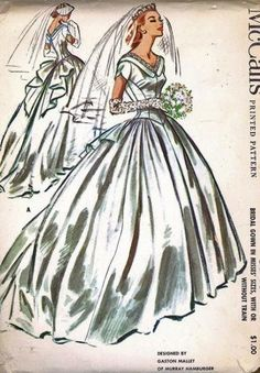 1950s Vintage McCall's Pattern No. 3940 Misses' Wedding Gown Bridal Dress By Designer Galston Mallet Size 14. $65.00, via Etsy.