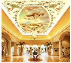 wallpaper ceiling wallpaper murals royal angel hand-painted three-dimensional painting ceiling frescoes on the wallpaper Wallpaper Ceiling, Ceiling Murals, Cheap Wallpaper, Paper Wallpaper, Self Adhesive Wallpaper, Peel And Stick Wallpaper, Wall Murals, Wallpaper Murals, Ceiling Painting