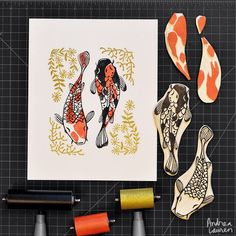 Andrea Lauren (@inkprintrepeat) | Using up some leftover pieces of carving block for this three-color koi print. The floral elements didn't make the photo crop but they are two pieces printed two times | Intagme - The Best Instagram Widget