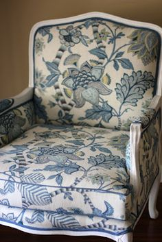A traditional floral in traditional blue... timeless!  I love chairs with big print, this one is a favorite style, and fabric is perfect!