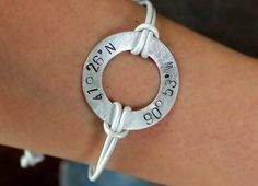 Sterling Silver Hand Stamped Latitude and by lilmisskaties on Etsy, $32.00