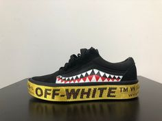 ce88ff2640d Reconstructed Off-White x Bape x Platform Vans Combing Vans Old Skool with Virgil  Ablohs Off-White Industrial Belt    Hand Painted Bape Influenced Teeth ...