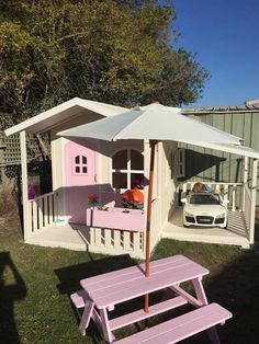 Bringing play to a new level - Billie Cubby House with Carport attachment - Hide & Seek Kids Kids Play Area, Kids Outdoor Play, Backyard For Kids, Backyard Projects, Kids Cubby Houses, Kids Cubbies, Play Houses, Backyard Playhouse, Backyard Playground