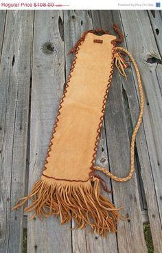 Fringed leather flute bag Buckskin leather flute by thunderrose,