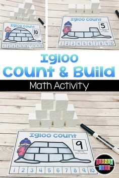 Igloo Count, Write, and Build Math Activity - - Snow Activities, Winter Activities For Kids, Kindergarten Activities, Preschool Winter, Preschool Science, Preschool Classroom, Preschool Crafts, Igloo Craft, Build Math