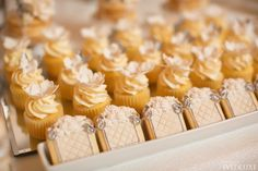 An Elegant Silver and Ivory Wedding at Fairmont Royal York - WedLuxe Magazine Party Desserts, Mini Desserts, Ivory Wedding, Wedding Reception, Wedding Desert, Desert Bar, Desert Ideas, Dessert Table Decor, Cookie Table