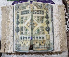 Quinceberry: Medieval Garden Fabric and Lace Book Pages Fabric Journals, Fabric Books, Art Journals, Mini Albums, Mixed Media Journal, Textiles, Book Images, Smash Book, Altered Books