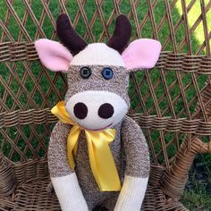 Sock Monkey Cow,  Personalization Option by MarysMonkeys on Etsy