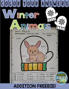 ONE Color By Numbers for The Mitten Winter Animals Addition Facts - Color Your Answers Printable and Answer Key for Winter Addition, perfect for winter time in your classroom. A perfect way to incorporate your math lesson into your thematic unit when you are reading Jan Brett's The Mitten.