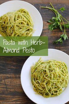 main entree pasta recipe : Pasta with Herb-Almond Pesto
