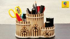 Homemade Pen stand/ Pencil holder with ice cream sticks Popsicle Stick Crafts For Adults, Diy Popsicle Stick Crafts, Cool Paper Crafts, Crafts To Make, Pen Holder Diy, Pencil Holders, Craft From Waste Material, Pencil Organizer, Stick Art