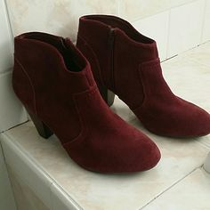 JUST TODAY AT 25$!!...NWOB Aldo mini boots Beautiful maroon suede ankle boots. About 3 inch heel. Gorgeous and very comfortable because the inside is cushioned and the bottom is anti slip. I wouldnt sell them but im moving and have to get rid of a lot of stuff. ALDO Shoes Ankle Boots & Booties
