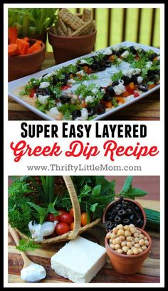 Super Easy Layered Greek Dip Recipe. A perfect dip for parties to serve as a greek dip appetizer. Skip the Mexican layered dips and try this one instead.
