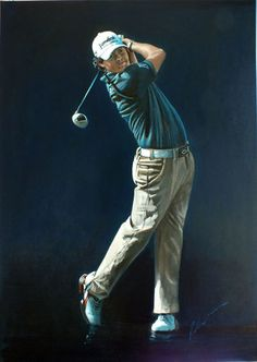 Rory McIlroy portraits painted by Mark Robinson - Golf Artist Rory Mcilroy, Golf Art, Perfect Golf, European Tour, Golf Tips, Sports, Charity, Drills, Canvas