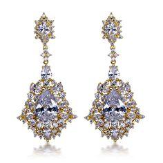 Big Drop Earrings AAA Cubic Zirconia Gold Plated  Wedding Earrings Allergy Free Lead Free