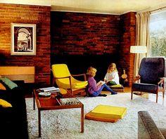 Living Room (1962) Mid Century Modern Living Room, Mid Century Modern Design, Mid Century Style, Living Room Modern, Vintage Space, Vintage Room, Bauhaus, Interior Design History, Vintage Interiors