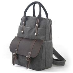 Useful Multi-function Leather Briefcase Splicing Large Canvas Travel Handbag Backpack