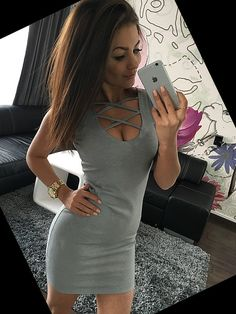 2019 Summer Sexy Slim Women Dress Solid Color U-Neck Cross-Belt Dress Sleeveless Plus Size Package Hip Dress Color Black Size XS Sleeveless Outfit, Belted Dress, Knit Dress, Bodycon Dress, Collar Dress, V Neck Dress, Tank Dress, Club Outfits For Women, Sexy Party Dress