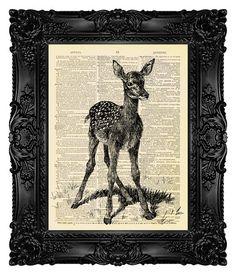 Baby Deer Dictionary Art Print Deer Art от MadameBricolagePrint, $10.00