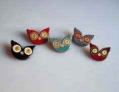 NOCTUA colourful owl brooch ceramic owl pin fun by satorstudio Nocturnal Birds, Purple Accents, Little Owl, Ceramic Owl, Ceramic Jewelry, Funny Animals, Woodland, Christmas Gifts, Brooch