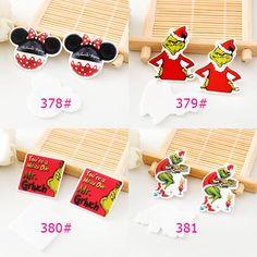 50pcs/lot Mixed Mr Grinch & Mouse Resin Flatback Cartoon Kawaii Planar Resin Craft for DIY Christmas Home Decoration Accessories