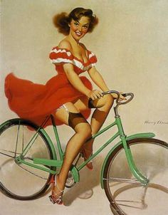 Vintage Pin Up Girl + Vintage Bicycle = love