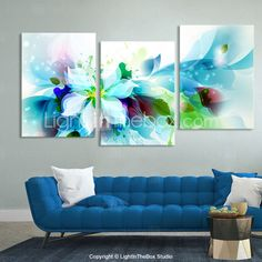 Canvas Set of 3 Modern Abstract Blue Flowers Stretched Canvas Print Ready to Hang 2015 – $70.99