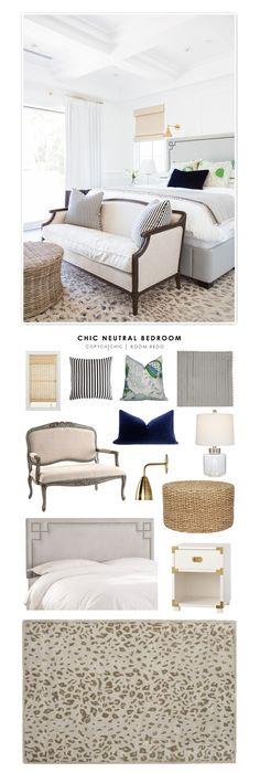 Chic Neutral Bedroom with the Safavieh Martha Stewart Kalahari Rug from Rugs USA!