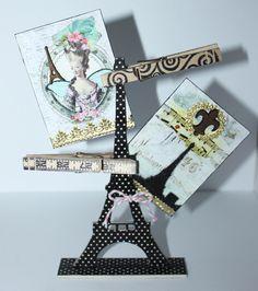 Retro Café Art Gallery: Washi Tape Eiffel Tower ATC Holder Tutorial
