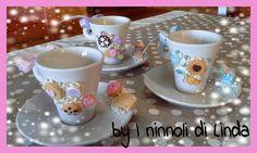 Tazzine da caffè decorate con biscottini in fimo...100 % handmade with love by I ninnoli di Linda!