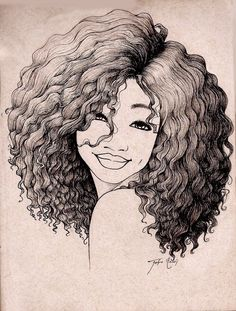 Drawing of girl smiling art