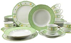 Alba Spring Rose 30 Piece Dinnerware Set with Mug, Service for 6 Creatable Stoneware Dinnerware Sets, Porcelain Dinnerware, China Porcelain, Tableware, Large Plates, Decorative Plates, Microwaves For Sale, Soup Plating, Fruit Plate