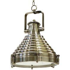 "Astoria Hanging Pendant Lamp by Restoration Warehouse - ""Hip Vintage"". Materials: Brass / Finish: Industrial Steel"