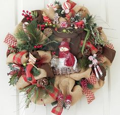 Burlap Country Christmas Wreath, Snowman, Pine Cones, Woodland Cabin  | PataylaFloralDesigns - Housewares on ArtFire
