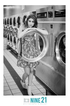 A stylized shoot in a Laundry Mat is such a statement for humble elegance. This would be a great idea for senior photography.